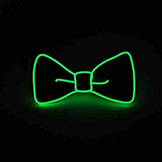 Luminous LED Bow Tie Adjustable Flashing LED Light Up Bow Tie, Novelty Party Favor Glowing Tie (Green)