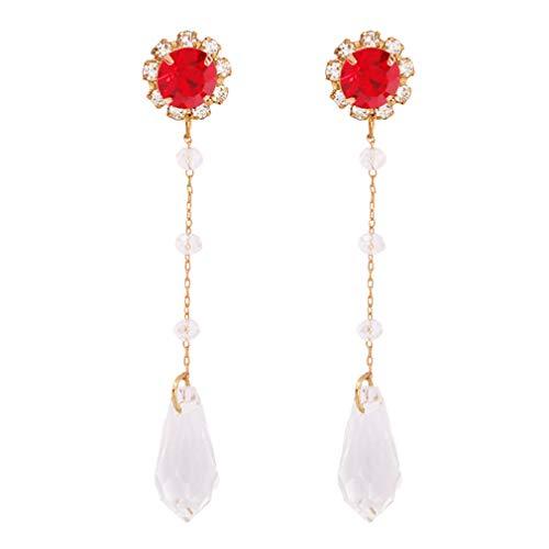 YAZILIND aleación larga borla colgante colgante pendientes simple estilo imitación pedrería perla pendiente sin mujeres joyería (rojo)