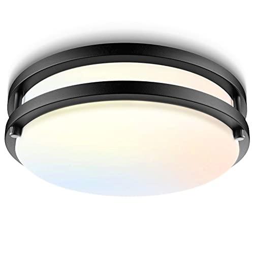 Bilrect LED Flush Mount Ceiling Light Fixture,10 inch,18W [160W Equiv] 1600lm,3000K/4000K/5000K Black Modern Light Fixture, Dimmable Ceiling Lamp for Hallway,Kitchen,Bedroom,Bathroom,ETL Listed