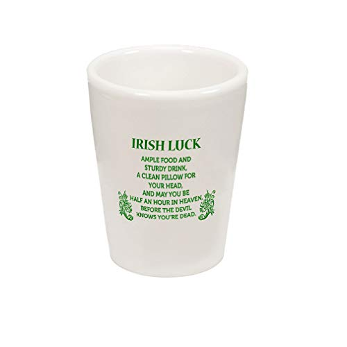 Ceramic Shot Glass Cup Four Leaf Shamrock Clover Irish Ireland St Patricks Patty Celtic May You Be Half An Hour In Heaven Before The Devil Knows You'Re Dead