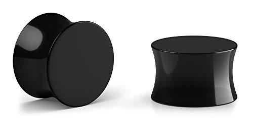Crazy Factory® - 2 dilatadores dobles de acrílico, 18 mm, color negro, piercing + oreja, económico, básico y de alta calidad