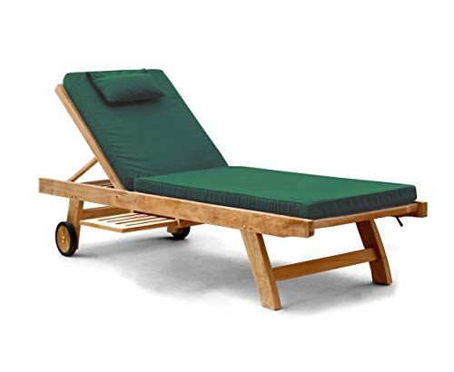 Jati Outdoor Wooden Sun Lounger with Cushion from a choice of up to 5 variations (Green) Brand, Quality & Value