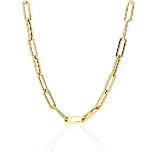 "14K Yellow Gold 6mm Paperclip Elongated Link Chain Necklace 16"" - 30"", 16"