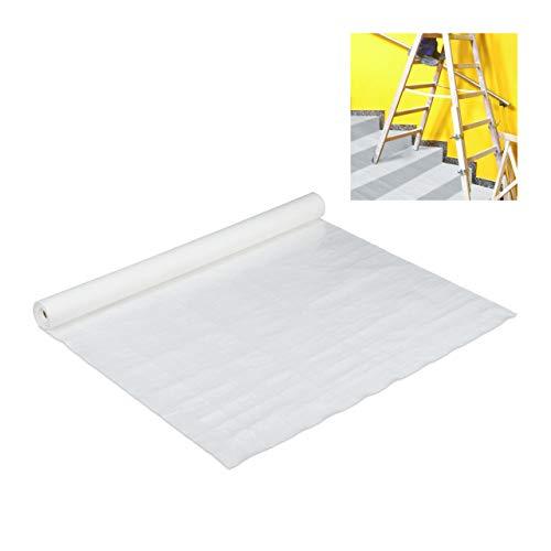 Relaxdays Malervlies, Abdeckvlies Rolle, 1 m x 10 m = 10m², rutschfest, wasserabweisendes Treppenvlies, 160g/m², weiß