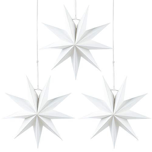 Julhängande stjärndekoration, 3 st hängande vita stjärnor, 9 poäng vit pappersstjärna, 3 delar diameter 30 cm, för bröllop julfest gör-det-själv