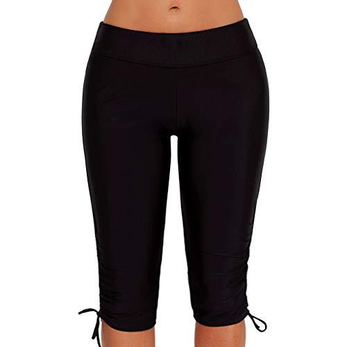 iHHAPY Sports Training Pants Womens Tight Swimsuit Plus Size Bottom Shorts Briefs Boardshort for Yoga Pilates Fitness Black