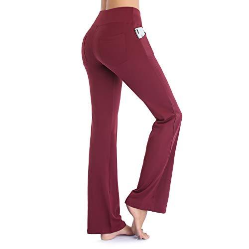 Ollrynns Pantalones de Yoga Mujer Bootcut Pierna Ancha Salón Pantalón de Piltes Cintura Alta Deportivos Leggins con Bolsillos para Yoga Fitness Gym N151 (Rojo Oscuro, S)