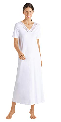 Hanro Damen 1/2 Arm 130 cm Nachthemd, White, XL