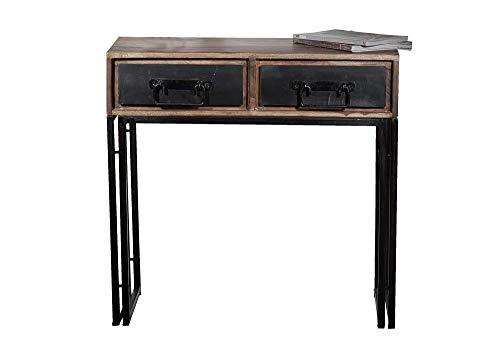 Sit Möbel 9284-01 Telefontisch Panama Shesham Natur mit schwerem Altmetall und Gebrauchsspuren, 80 x 40 x 76 cm, 2 Schubladen