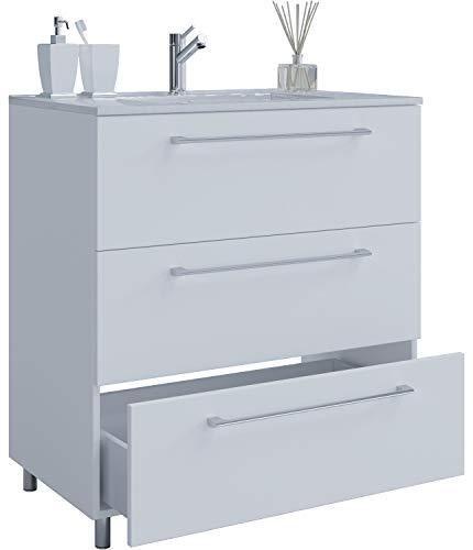 VCM 2-TLG. Stand-Waschplatz Set Badmöbel Waschbecken Keramik Waschtisch 3 Schubladen 60 cm, Weiß