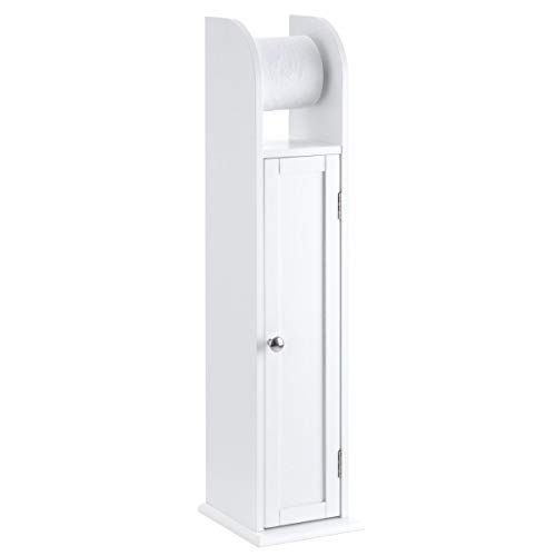 CHRISTOW Free Standing Toilet Roll Holder Cabinet, White Wooden Toilet Roll Storage Unit With Shelf