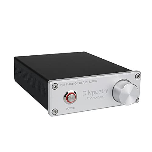 Dilvpoetry Phono Box MM Phono Preamplificatore HiFi Audio AMP Giradischi Amplificatore Fonografo Pre-amp Giradischi con DC12V (Argento)
