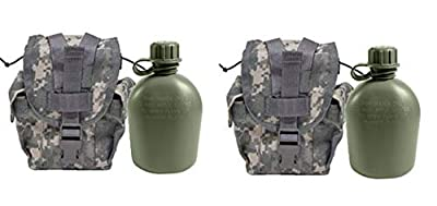 Military Outdoor Clothing Never Issued U.S. G.I. 1 Quart Olive Drab Military Canteen with Previously Issued U.S. G.I. 1 Quart ACU MOLLE Canteen/General Purpose Pouch (Pack of 2)