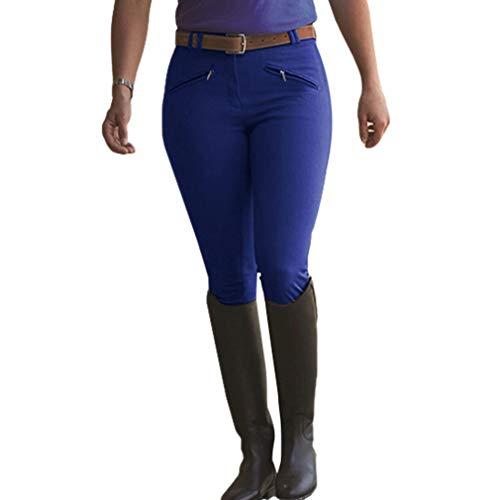 Hongxin Damen Active Reithose, Grip Vollbesatzreithose mit Reißverschlusstaschen Elastische Taille Slim Fit Radhose Einfarbig Jogginghose im Freien