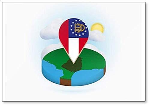 Isometrische ronde kaart van ons staat Georgië en Point Marker met vlag van Georgië Koelkast magneet