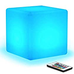 [16 RGB Colors 4 Modes] Mr.Go Waterproof Rechargeable LED Color-Changing Light Cube 8 | Dimmable Soothing Mood Lamp w/ Remote | Ideal for Home Patio Party Accent Ambient & Decorative Lighting