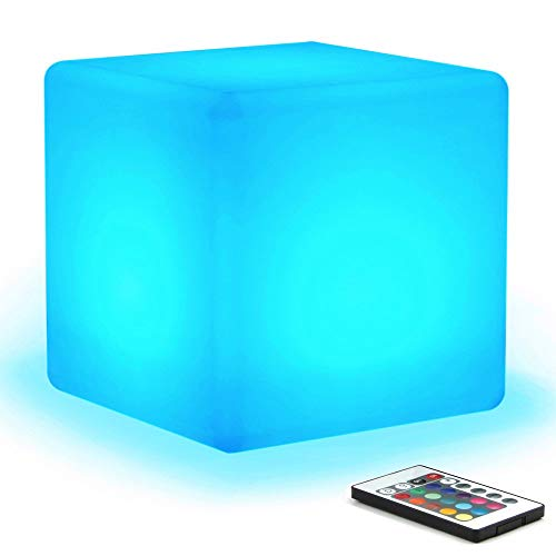 [16 RGB Colors 4 Modes] Mr.Go Waterproof Rechargeable LED Color-changing Light Cube 8' | Dimmable Soothing Mood Lamp w/Remote | Ideal for Home Patio Party Accent Ambient & Decorative Lighting