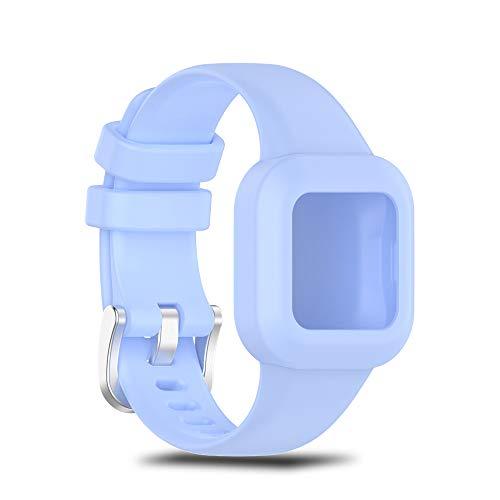 Ficocean Correa de Reloj Pulsera de Silicona Correa de Repuesto Brazalete de Muñeca Banda de Deportes Compatible para Garmin Vivofit jr.3 Smartwatch (Azul)