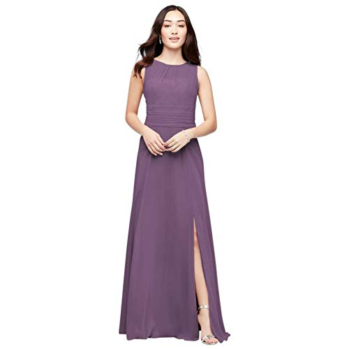 David's Bridal High-Neck Soie Chiffon Bridesmaid Dress Style F19960, Wisteria, 24
