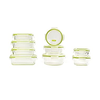 Keeperz 18-Piece BPA-Free Glass Food Storage Set with Airtight Lids