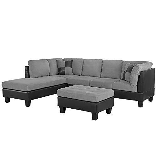 Casa Andrea Milano llc Modern Microfiber and Faux Leather Sectional Sofa and Ottoman Set, Slate