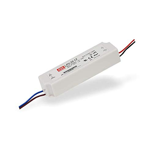 Mean Well, LPV-35-12, LED Driver; IP67; Input 90-264Vac; Single Output 35W 12Vdc by MEAN WELL