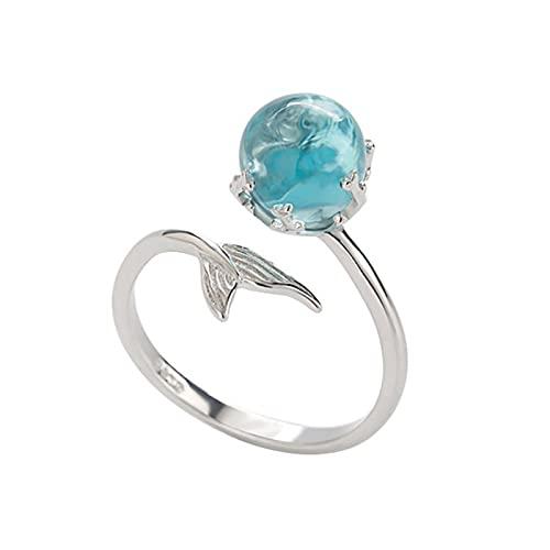 Anillo de sirena azul Crystal Fishtail Anillo abierto