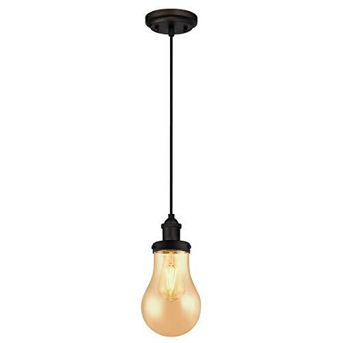 Westinghouse Lighting Einflammige Pendelleuchte, Ausführung geölte Bronze mit bernsteinfarbenem tropfenförmigem Glas, 1 W, Tropfenglas, 14 x 14 x 160 cm