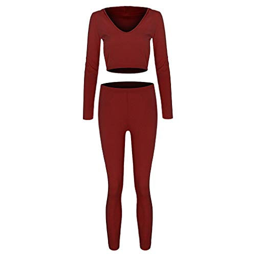 Luotuo Damen Trainingsanzug Yoga-Anzug Kapuzen Sweatshirt + Yogahosen Solide Slim Fit Hooded Langarmshirt Hose Frauen Fitness Yoga Casual Jogginganzug Sportwear