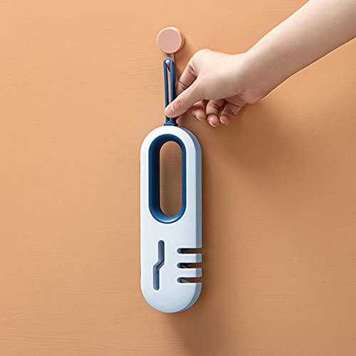 4 en 1 afiladores de cuchillos manuales, herramienta de cocina profesional para el hogar, seguro, antideslizante (azul)