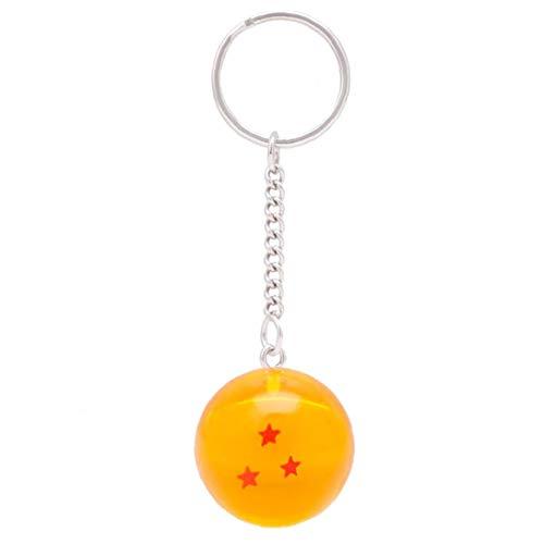 Dragon Ball Llavero Colgando Colgante de Resina Transparente Bolas Llavero 3 Estrellas
