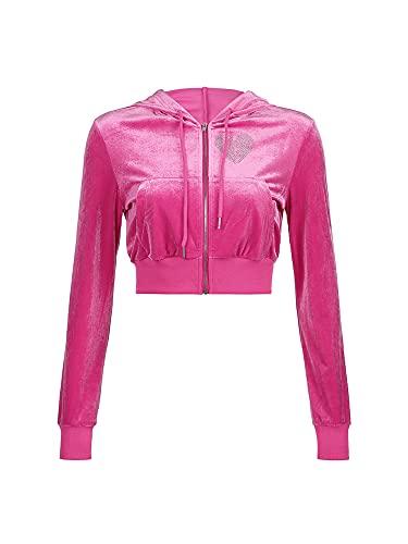 CharmShow 2 piezas de ropa casual para mujer con cremallera y diseño de corazón con diamantes de imitación de manga larga y falda de cintura alta con cordón, Sudadera rosada con capucha, Medium