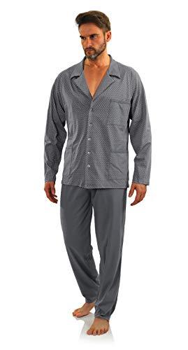 Sesto Senso® Herren Schlafanzug Lang Pyjama mit Knopfleiste 100{abe637d6b31dc87f39abc7af2e9b688ee6fe105c15cdbd0b506c0b3f2b6680a2} Baumwolle Knöpfe Langarm Shirt mit Taschen Pyjamahose Zweiteilig Set Nachtwäsche (M, kotwice GRAF)