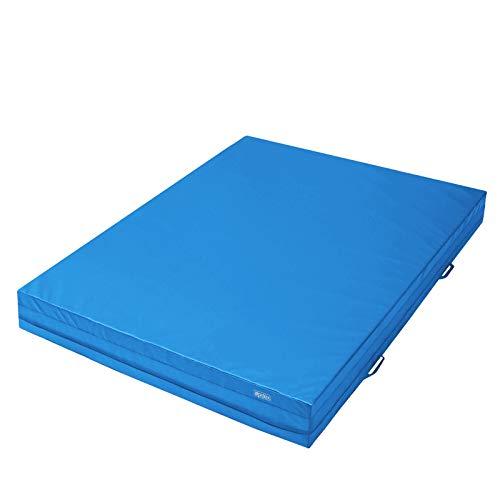ALPIDEX Weichbodenmatte 200 x 150 x 20 cm mit Tragegriffen und Anti-Rutschboden, Farbe:hellblau