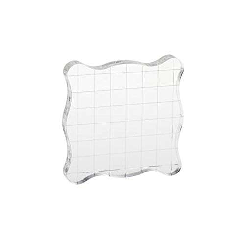 ViaGasaFamido Square Stamp Block, Transparent Acrylic Block Pad Clear Stamping Blocks Tool Stamp Blocks Set for Scrap Booking Color Stamping Process Essential Tools(7.5×7.5cm)