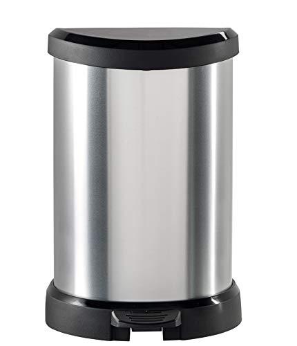 CURVER 02120 Metallic's - Cubo de la Basura con Pedal (20 litros), Color Plateado metálico