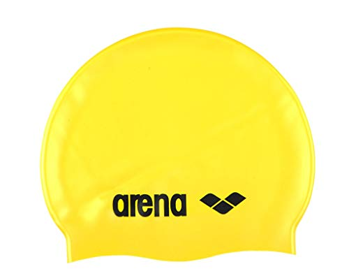 Arena Classic Silicone Unisex Swim Cap for Women and Men, Prints and Solids, Yellow/Black