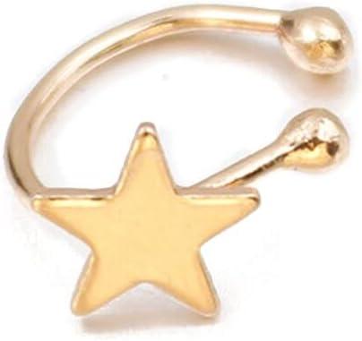 Hoop Earrings Star Design Ear Cuff 1pc (Color : Gold)