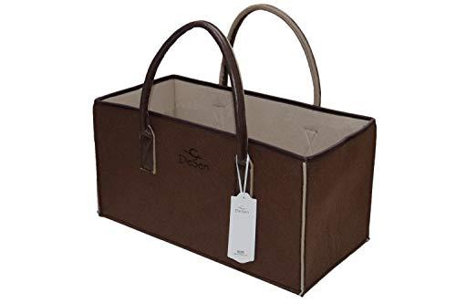 DESEN Bolsa De Fieltro Reutilizable Bolso De Playa Con Asa Cesta Para Periódicos Cesta de Fieltro Cesta de la Compra Bolsa para la Compra o el Tiempo Libre(Café/Camell II,50×25×25cm)