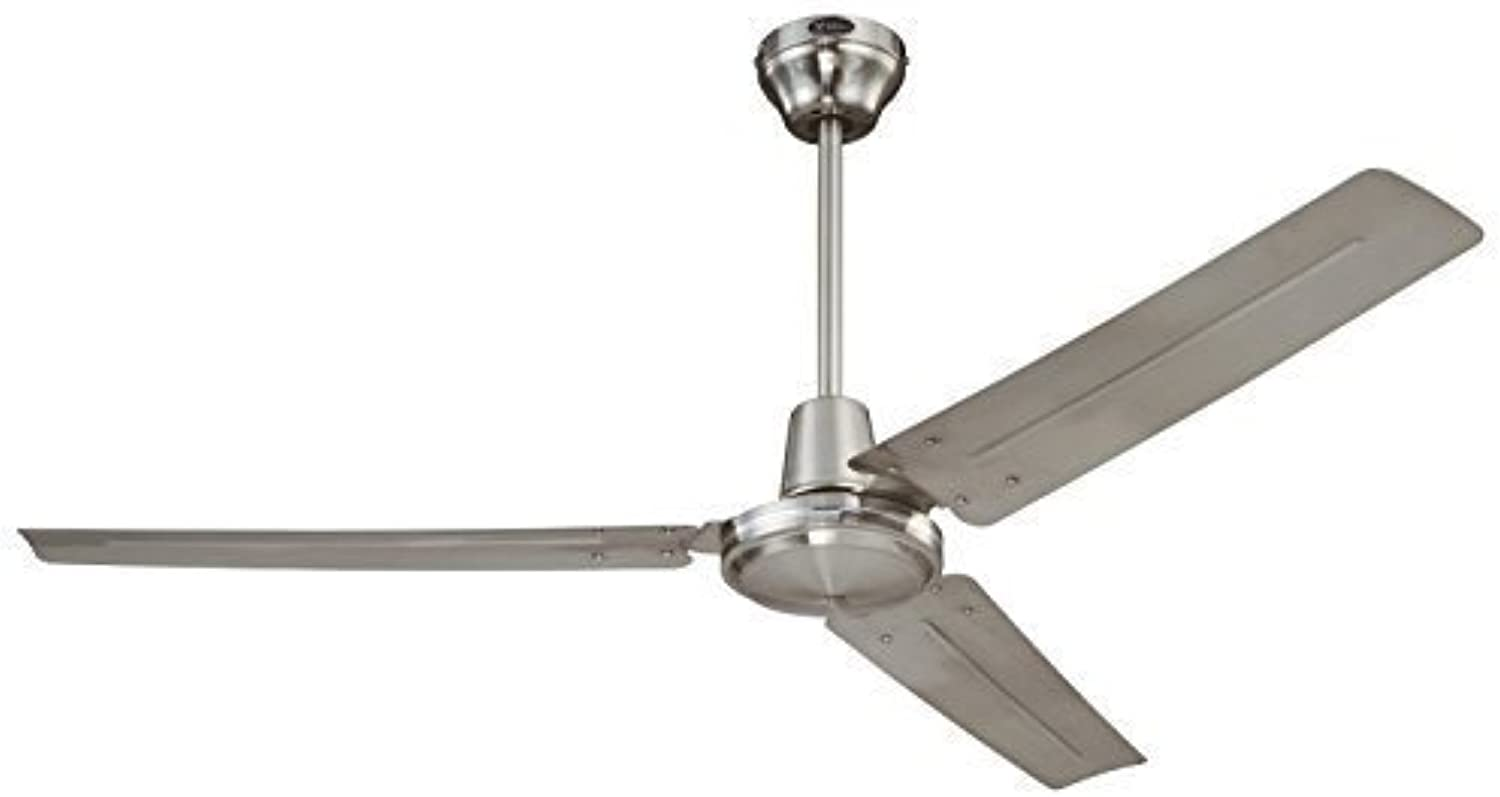Industrial 56-Inch Three-Blade Ceiling Fan with Ball Hanger Inssizetion System, Brushed Nickel (1 Pack)