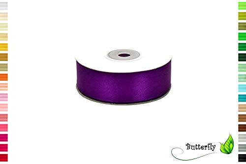 Creativery 25m Rolle Satinband 25mm // Schleifenband Deko Band Dekoband Geschenkband Dekoration Hochzeit Taufe ( lila / Purpur 465 )