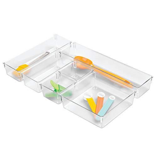 iDesign bac de rangement, petit range couvert pour tiroir en plastique, bac plastique en lot de 6 de différentes tailles pour cosmétiques ou couverts, transparent