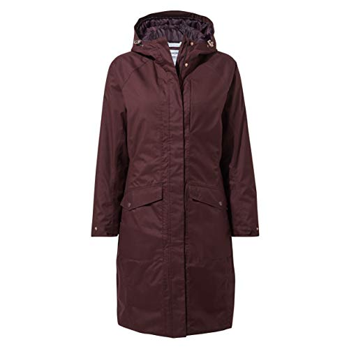 Craghoppers Women's Mhairi Hooded Jacket Long Length Winter Waterproof Coat with Quilted Insulating Liner - Port, XL