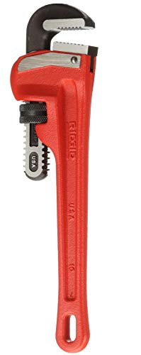 RIDGID 31010 Model 10 Heavy-Duty Straight Pipe Wrench, 10-inch Plumbing Wrench