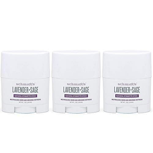 Schmidt's Natural Deodorant For Odor Protection Lavender + Sage Free of Aluminum Salts Travel Size 0.7 oz / 19.8 g (Pack of 3)