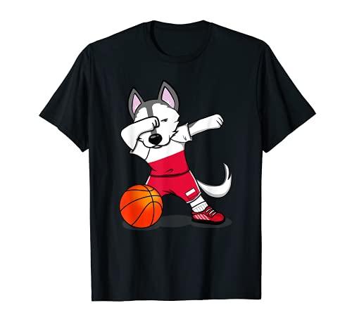 面白いハスキー犬ポーランドバスケットボールファン-ポーランドの旗スポーツ愛好家 Poland Basketball Tシャツ