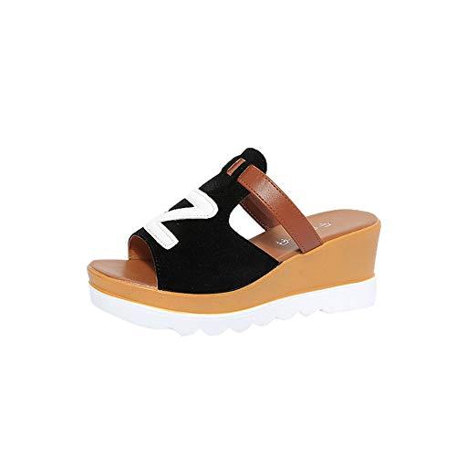 Fannyfuny_Zapatos de Verano Sandalias de Verano Sandalias Mujer Cuña Zapatillas de Estar por casa Sandalias y Chanclas Bohemia tacón Alto de Impresión de Letras Zapatos de Playa (5-8cm)