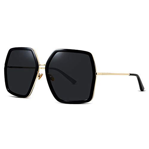 Gafas de Sol polarizadas de Mujeres, Gafas de Sol de Marco Poligonal, Grandes Lentes Anti-ultravioletas para Hacer su Cara Delgada, Gafas Exteriores para Conducir y Pescar