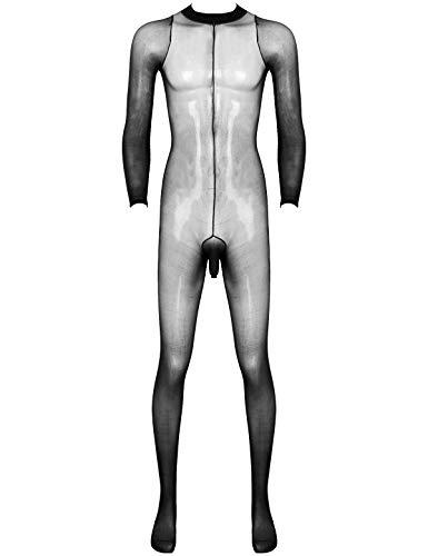 winying Herren Strumpfhose Overall Ganzkörper Unterwäsche Unterhose Tights mit Penishülle Sexy Dessous Jumpsuit in Hautfarbe Schwarz Schwarz B OneSize