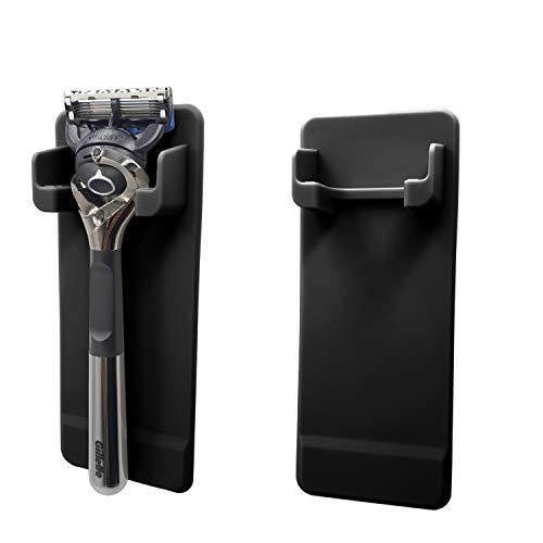 Self Adhesive Wall Mount Holder Silicone Waterproof Razor Organizer Razor Bathroom Storage Rack Compatible with Most of Men's Razors Gillette Billie Schick Men's Razor -2 Pack Black